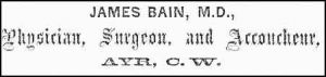 Dr. James Bain Advertizement 1867