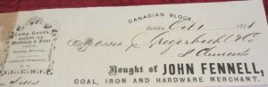 John Fennell's Merchant Business Receipt 1878