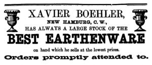 New Hamburg Potter Advertizment from 1867 Directory