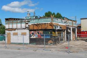 fomer Aberle Service Station being demolished 2011