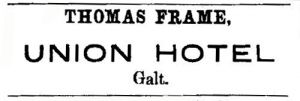 Thomas Frame's advertisement in 1862